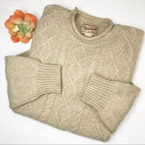 Woolrich cable knit wool sweater sz S